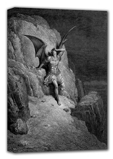 Dore, Gustave: Depiction of Satan. Fine Art Canvas. Sizes: A4/A3/A2/A1 (001837)